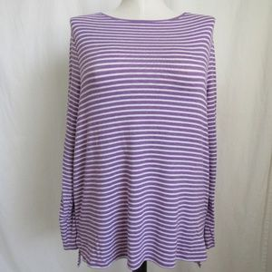 Chico's Purple Stripe  Knit Tunic Top 2 12 L